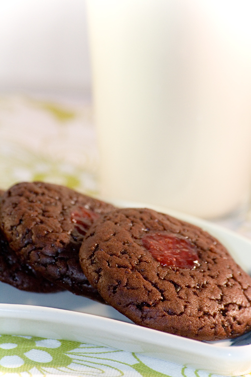 Chocoladekoekjes met jamvulling