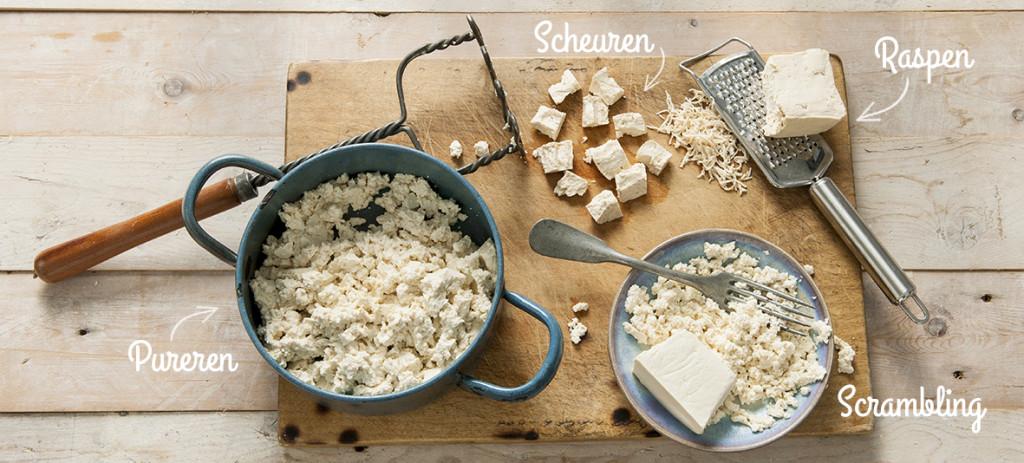 tofu gepureerd, gescrambled, gescheurd en geraspt